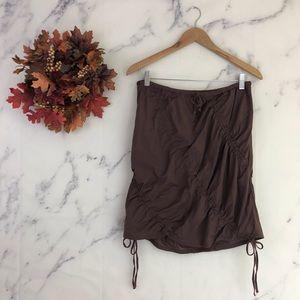 Athleta Ruched Lagenlook Skirt in Brown